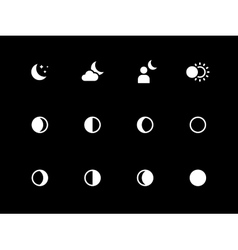 Moon phases icons on black background vector image vector image