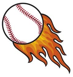 baseball ball in fire vector image