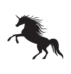 black cute silhouette unicorn vector image