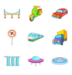 city transport types icon set cartoon style vector image vector image