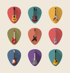 guitars flat icons set vector image vector image