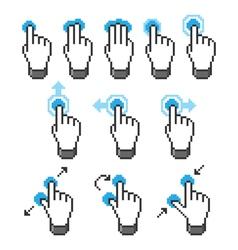 Pixel touch screen gestures vector image vector image