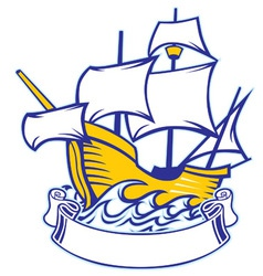 sailing caravel vector image