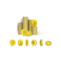 set of bitcoin coins - rotating and put in stacks vector image
