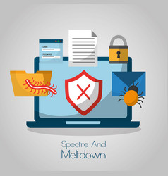 spectre and meltdown computer cyber attack vector image