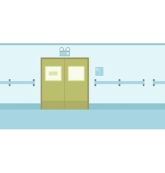 Background of hospital corridor with closed doors vector image