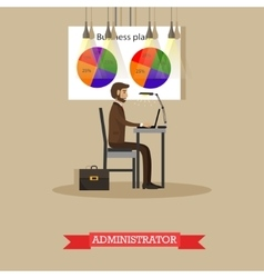 Company administrator work with computer in office vector image vector image