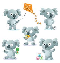 Cute Cartoon Koalas vector image