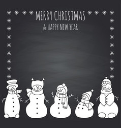 funny snowmen on a black vector image