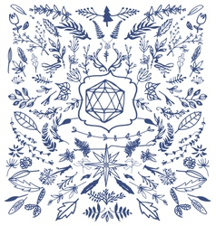 hand drawn decorative floral vintage vector image vector image