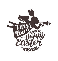 happy easter greeting card rabbit bunny blowing vector image