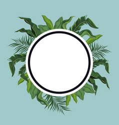 label tropical leave palm vector image vector image