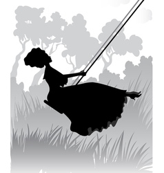 Lady on a swing vector image vector image