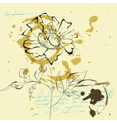 sketch with flower vector image vector image