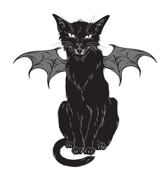 creepy black cat with monster wings isolated vector image