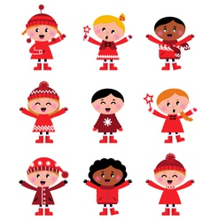 cute little christmas kids vector image vector image