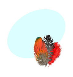 Hand drawn bunch of three colorful tropical vector