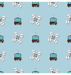 Seamless pattern with drone icons vector image