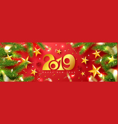 2019 happy new year universal red vector image