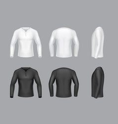 3d realistic white black long sleeve vector image