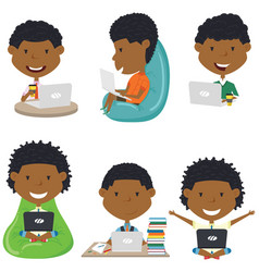 african american boys with laptops vector image