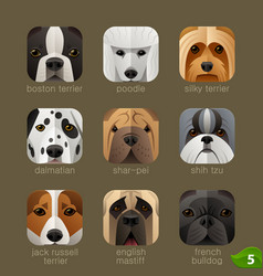 Animal faces for app icons-dogs set 4 vector