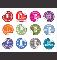 Anniversary modern tag and stickers collection 10 vector
