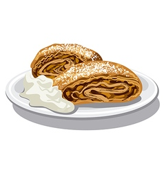 apple strudel with sour cream vector image vector image