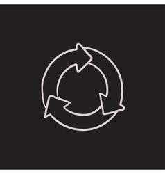 Arrows circle sketch icon vector image