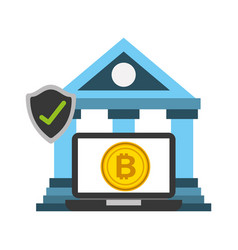 bank laptop bitcoin protection fintech vector image