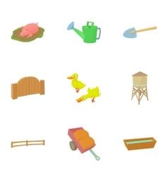 Barnyard icons set cartoon style vector