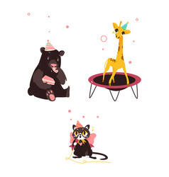 Bear cat and giraffe at birthday party vector