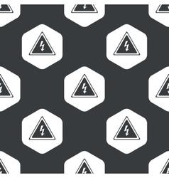Black hexagon high voltage pattern vector