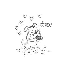 black-white sketch funny cartoon puppythe vector image