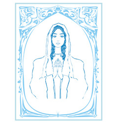 Blessed virgin mary portrait decorative blue card vector