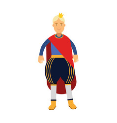 Blonde prince in red mantle and gold crown vector