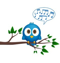 Blue bird sitting on twig singing vector image