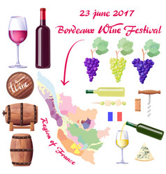 Bordeaux wine festival on 23 june 2017 poster vector