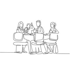 business presentation concept one line drawing of vector image