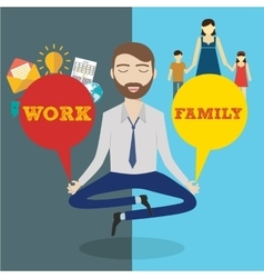 Businessman meditating Man balancing family and vector image