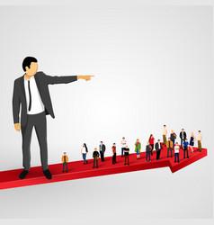 businessman sends crowd ahead vector image