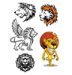 Cartoon and heraldic lion characters vector