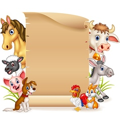 Cartoon funny farm animals with blank sign vector