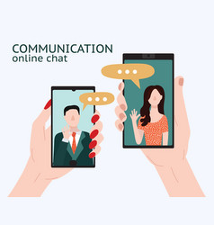 cartoon people chating in messenger card poster vector image