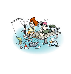 Cartoon two boys on fishing trip vector