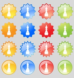 Chess bishop icon sign big set of 16 colorful vector