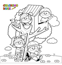 Children playing in a tree house vector