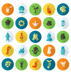 christmas and winter icons collection vector image