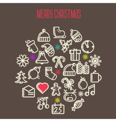 christmas background with set icons vector image