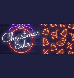 Christmas sale neon sign web banner logo vector